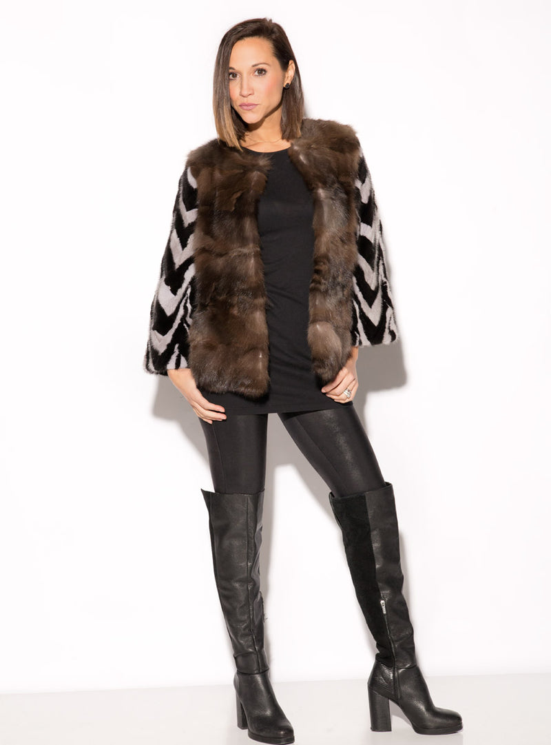 Ranch and Sapphire Mink Fur Jacket with Russian Sable Fur Front