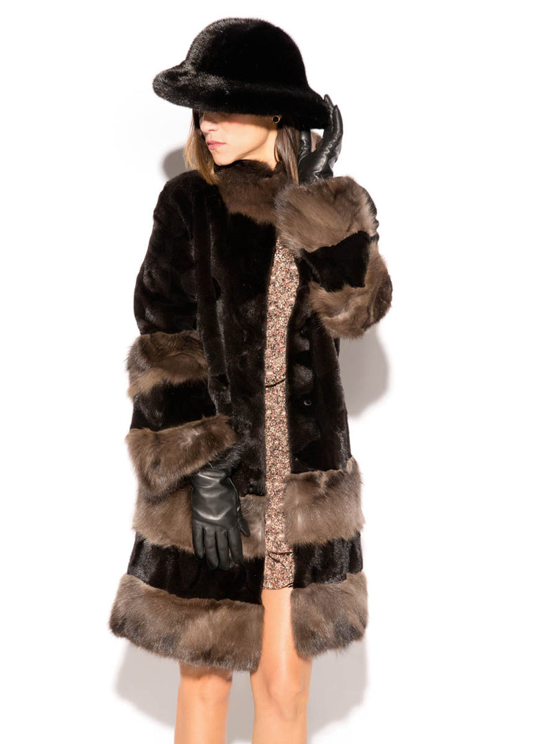 Sheared Mink Fur Stroller with Russian Sable Fur Trim