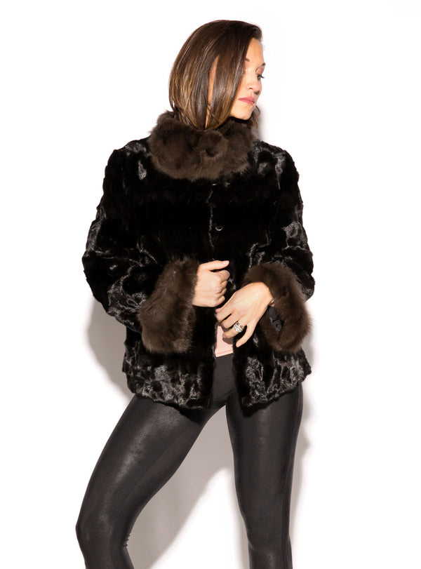 Mink Fur Jacket with Russian Sable Fur Collar and Cuffs