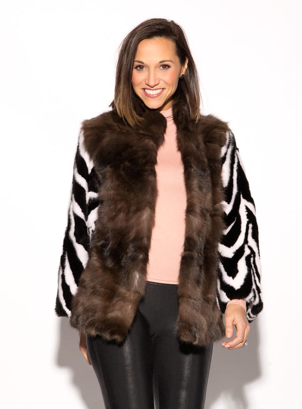 Ranch and White Mink Fur Jacket with Russian Sable Fur Front