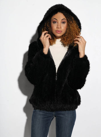 Knitted Mink Fur Jacket with Hood