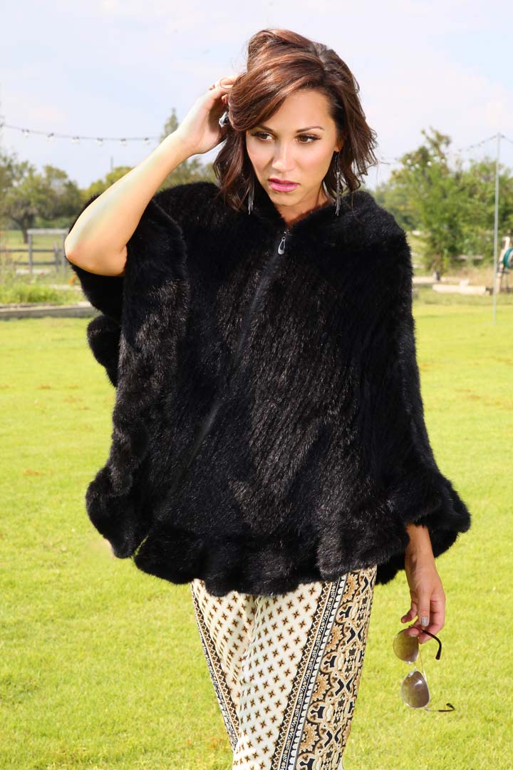 Knitted Mink Fur Cape with Hood & Zip Front