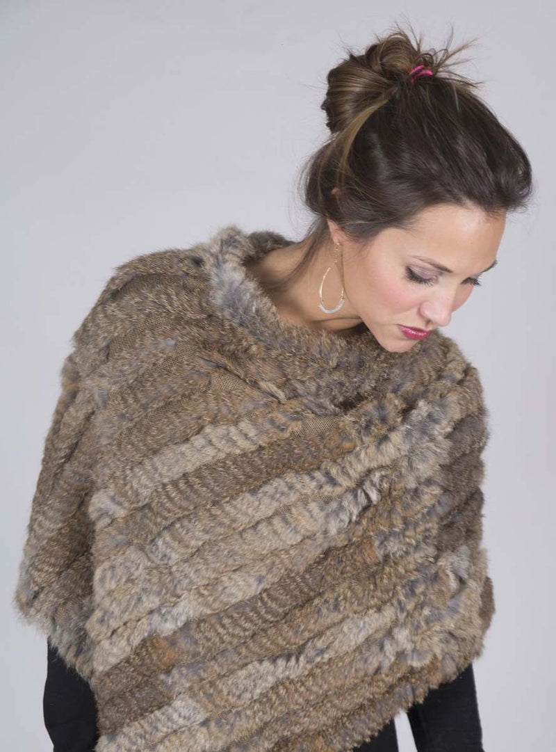 Women's Natural Brown Knitted Rabbit Fur Poncho with Fringe