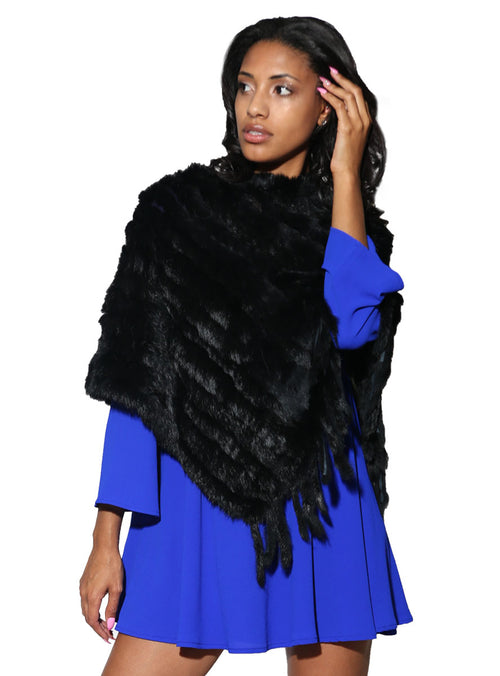Women's Black Knitted Rabbit Fur Poncho with Fringe