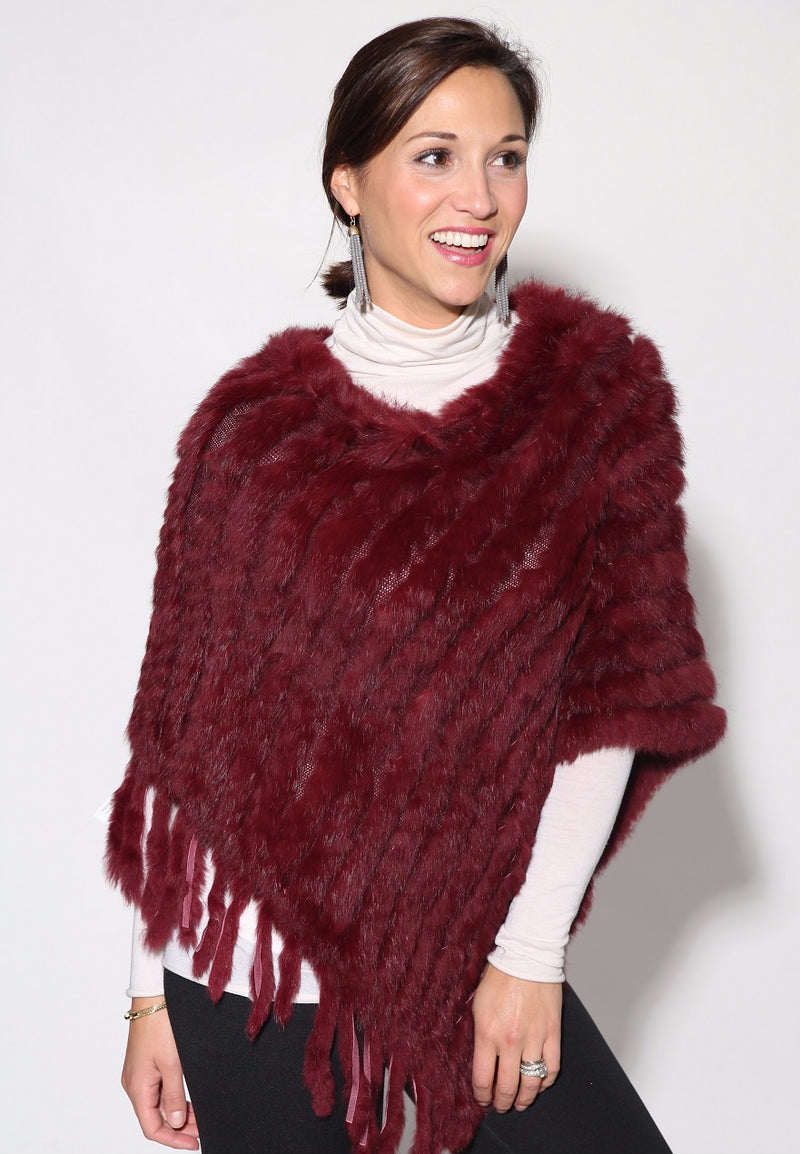 Knitted Rabbit Fur Poncho with Fringe