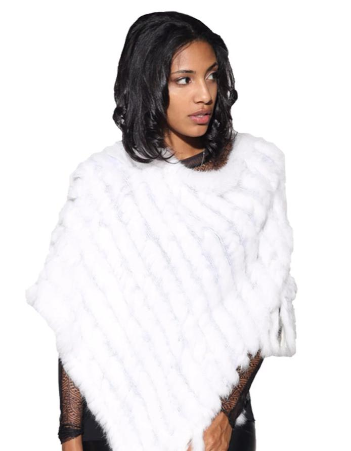 Knitted Rabbit Fur Poncho