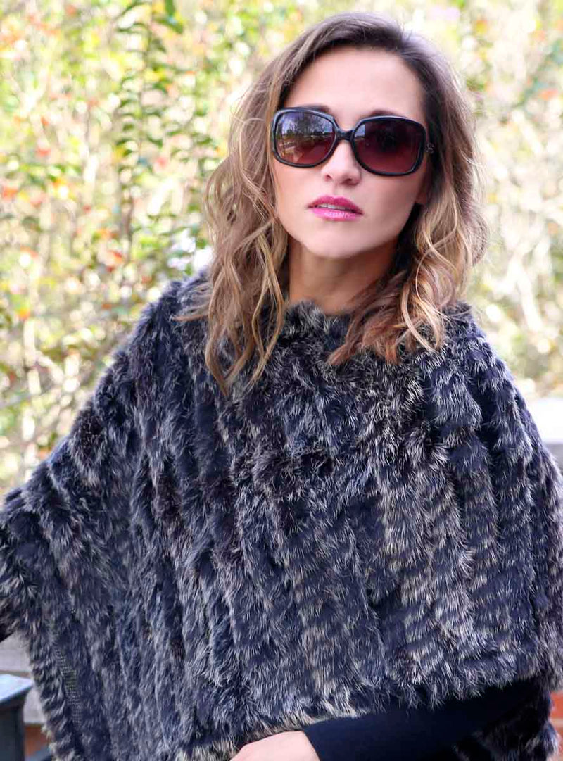 Women's Black Snowtop Knitted Rabbit Fur Poncho with Fringe