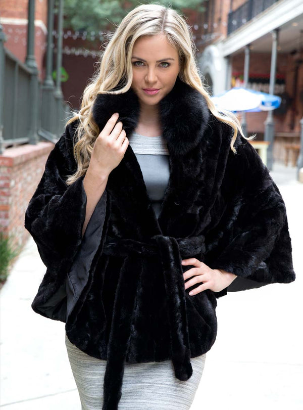 women's mink fur cape with fox fur collar