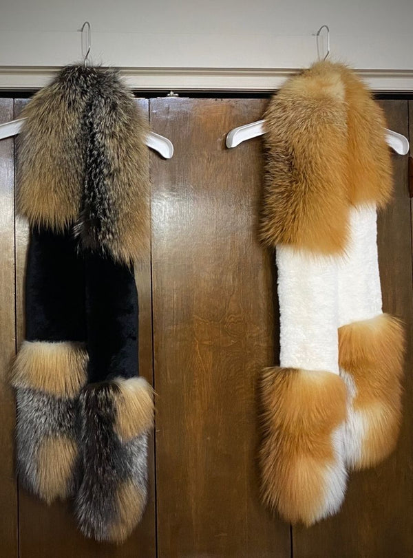 fox and rabbit fur scarf