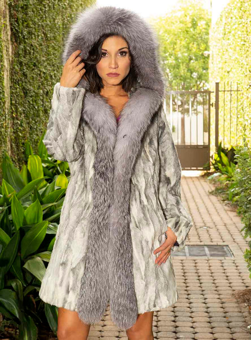 Persian Lamb Fur Stroller with Fox Fur Tux and Hood
