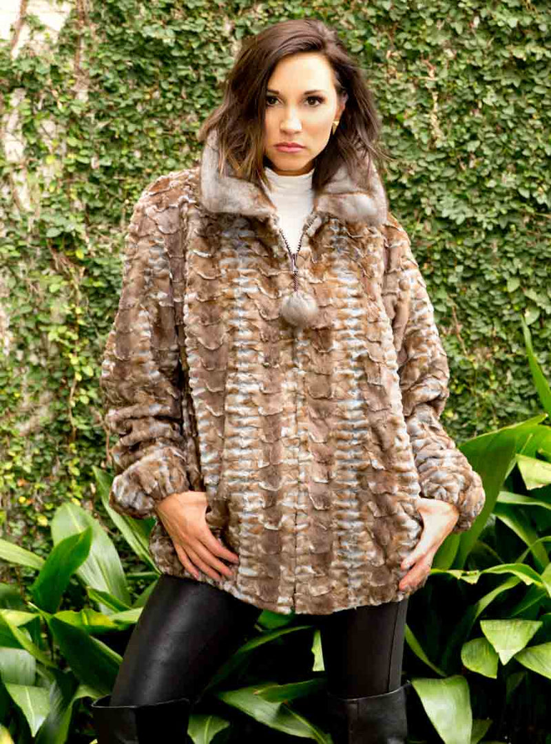 Mink Fur Bomber Jacket with Full Skin Mink Fur Collar