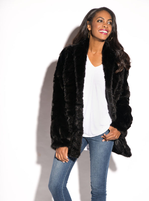 Mink Fur Jacket with Shawl Collar & Bracelet Cuffs
