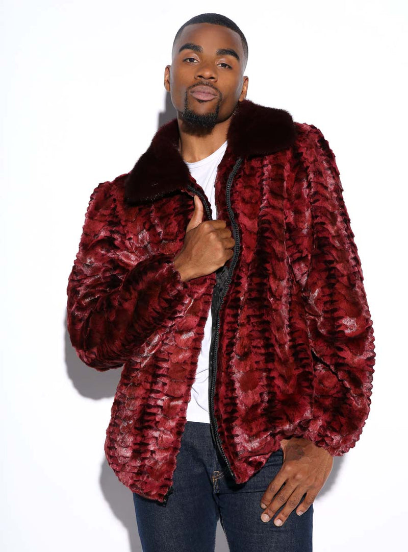 men's mink fur bomber jacket