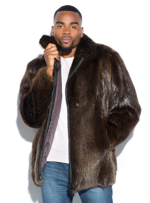 Men's Beaver Fur Jacket with Optional Hood