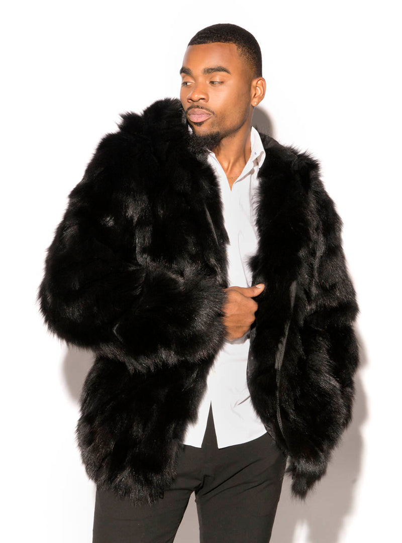 men's fox fur jacket, bomber jacket
