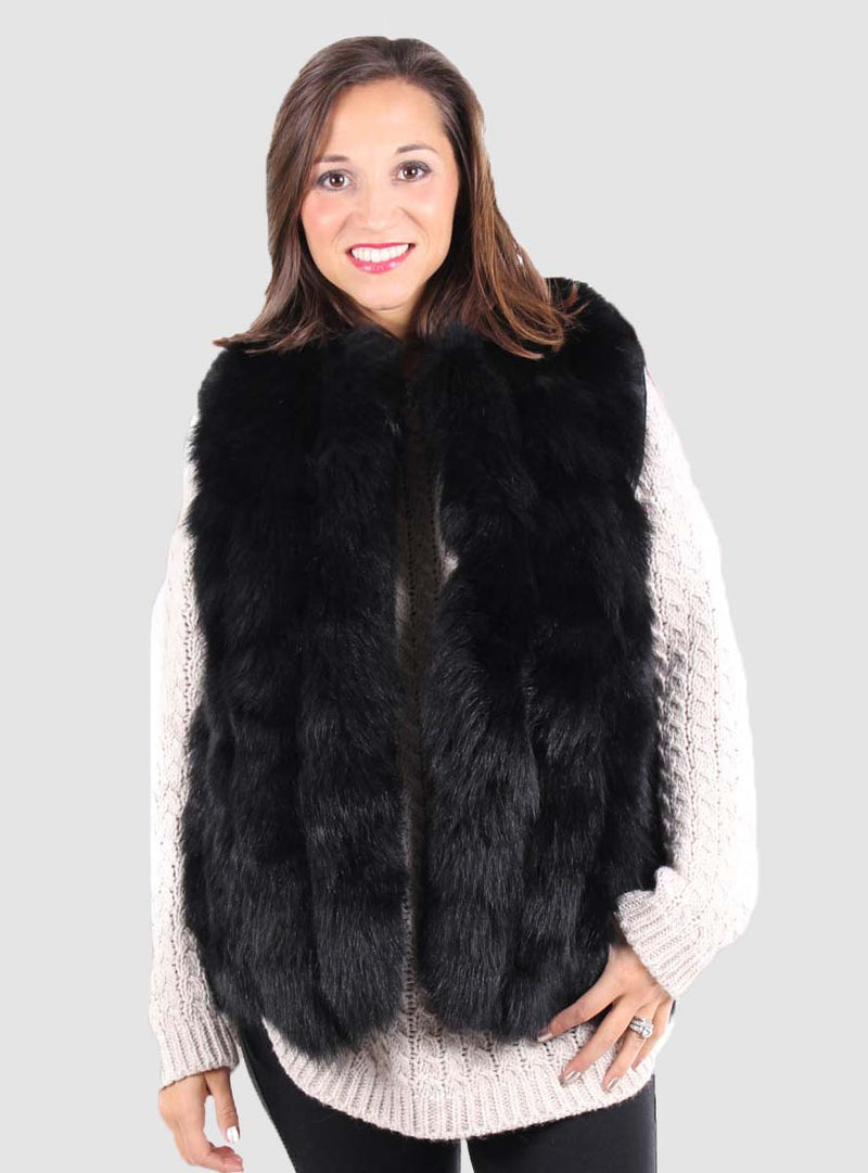 Fox Fur Vest with leather inserts