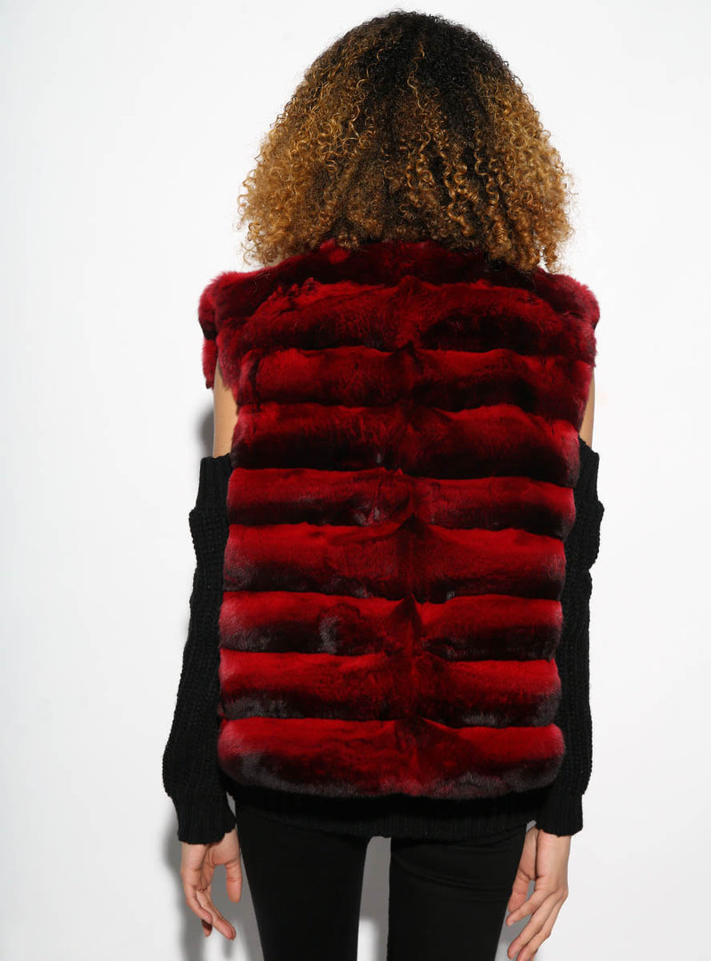 women's red chinchilla fur vest