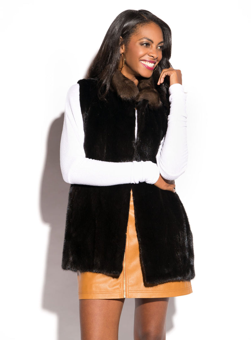 women's mink fur vest, sable fur collar