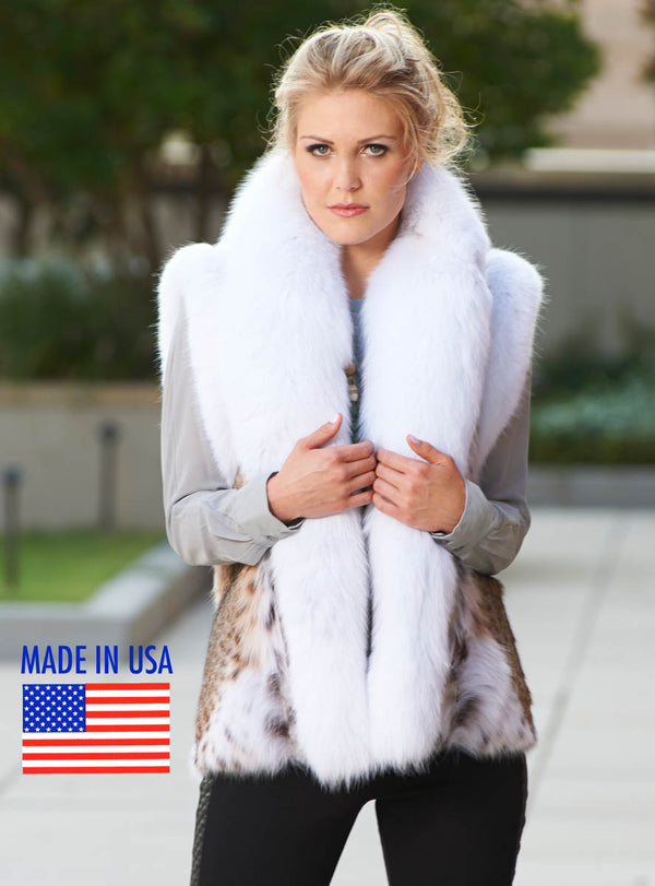 bobcat fur vest with shadow fox fur tuxedo collar and trim- made in usa