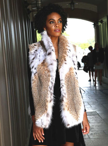 Natural Bobcat Fur Vest with Shawl Collar