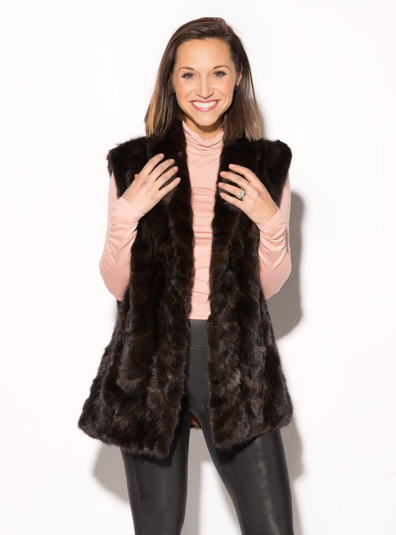 Mink Fur Vest with Shawl Collar