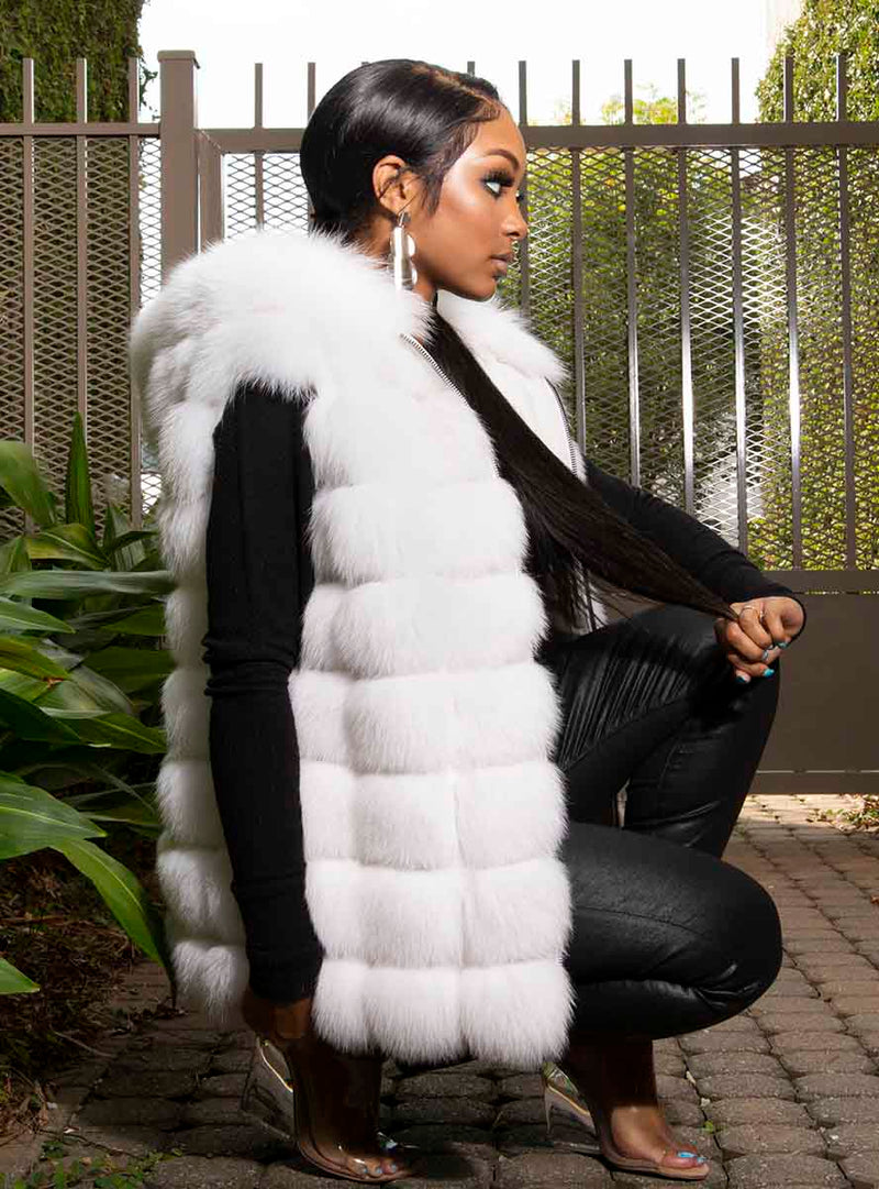 horizontal fox fur vest with hood