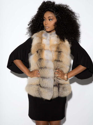 Crystal Fox Fur Vest with Horizontal Pattern