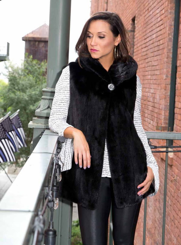 Women's Mink Fur Vest with Hood