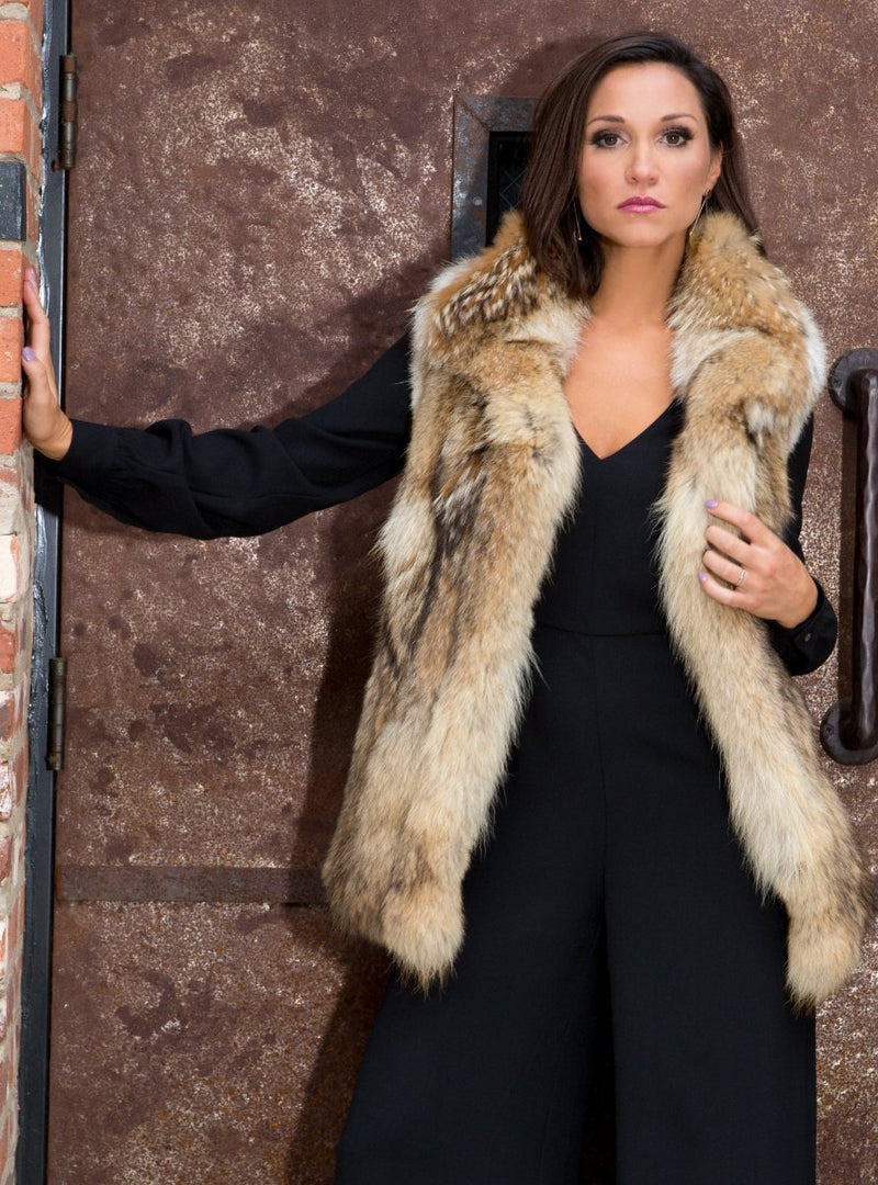 women's coyote fur vest