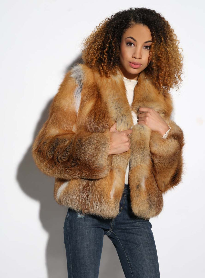 Women's Natural Red Fox Fur Jacket
