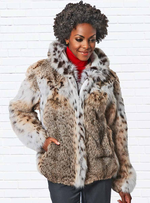 Natural Bobcat Fur Jacket with Hood
