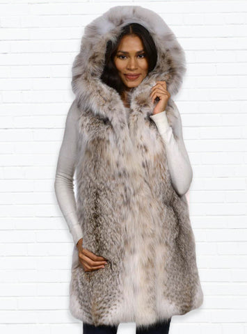 Canadian Lynx Fur Vest with Hood