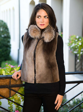 Sheared Beaver Fur Vest with Crystal Fox Fur Collar