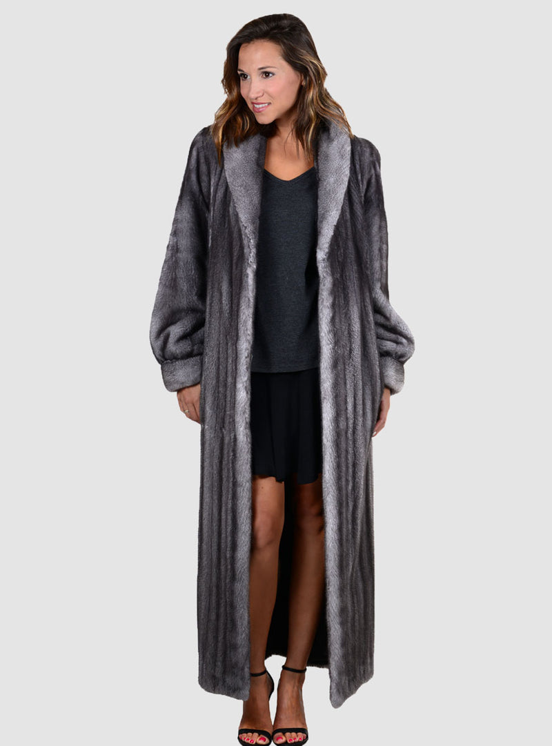 NAFA OR SAGA select Mink Fur Coat with Shawl Collar and Bracelet Cuffs