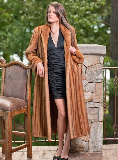 Very Finest Full Length Mink Fur Coat with Shawl Collar & Rollback Cuffs