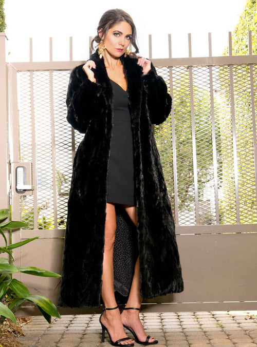 Full Length Mink Fur Coat with Shawl Collar and Bracelet Cuffs