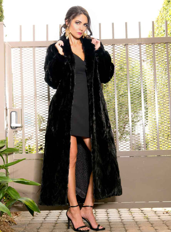 full length mink fur coat with shawl collar & bracelet cuffs