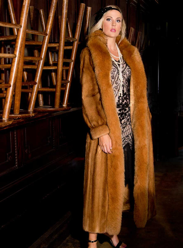 Female Mink Fur Coat with Fox Fur Tux