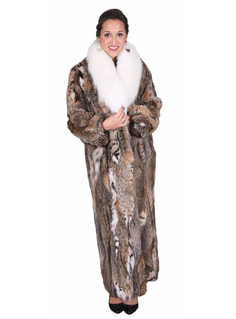 Bobcat Fur Coat with Optional Fox Fur Collar