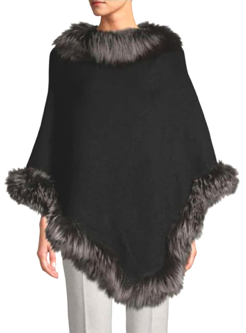 Women's Black Cashmere Blend Poncho with Silver Fox Fur Trim