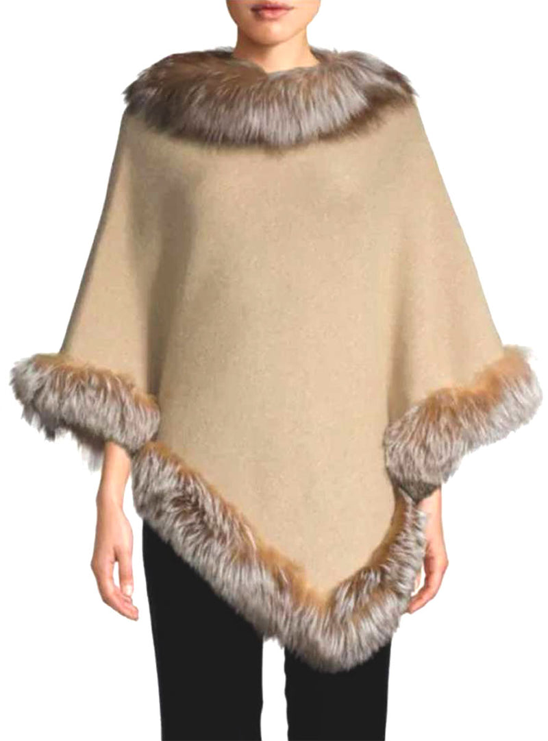 Women's Oatmeal Cashmere Blend Cape with Crystal Fox Fur Trim