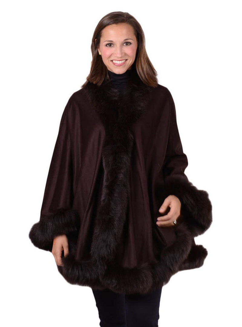 Women's Brown Cashmere Cape with Brown Fox Fur Trim