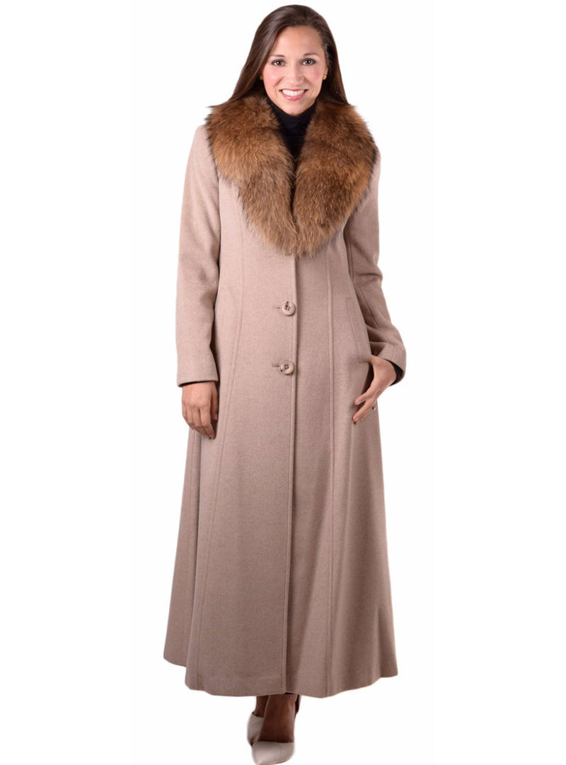 Women's Cashmere Coat with Detachable Raccoon Fur Shawl Collar