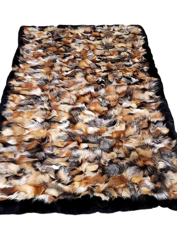 Cross Fox Fur Blanket with Black Fox Fur Trim