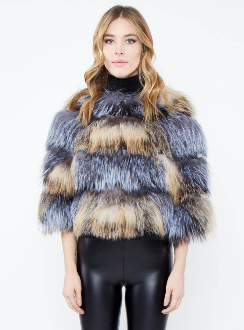 Full Skin Fox Fur Crop Jacket with Lazer Cut Details