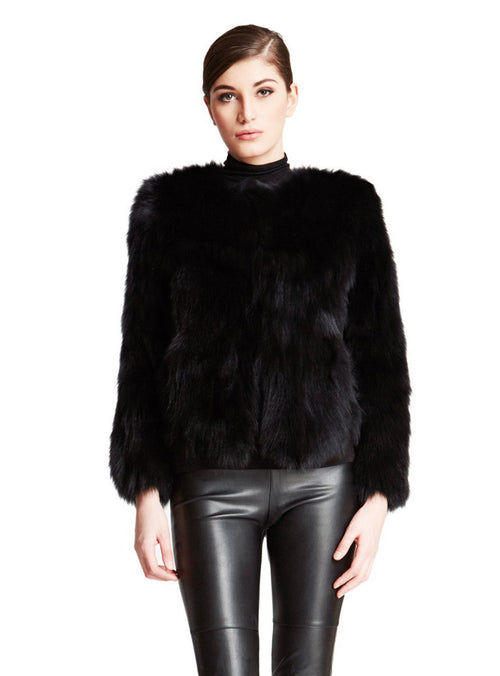 Black Full Skin Fox Fur Jacket