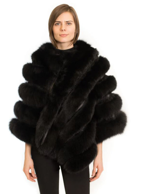 Women's Black Fox Fur Poncho with Leather Inserts and Diagonal Zip Front