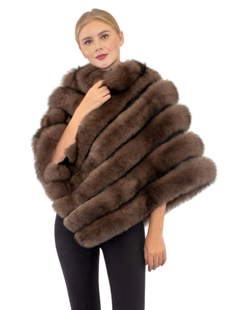 Women's Brown Fox Fur Poncho with Leather Inserts and Diagonal Zip Front