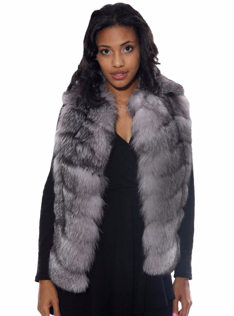 Women's Fox Fur Vest, Silver Fox
