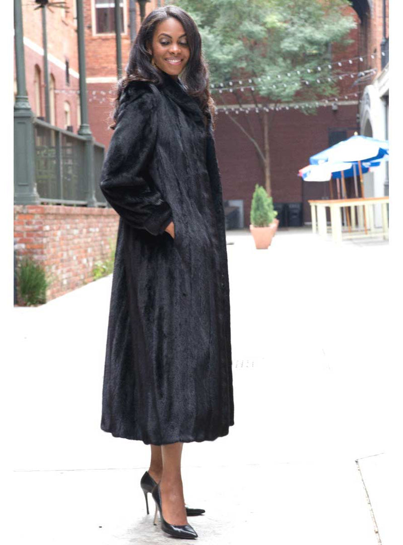 Full Sweep Female Mink Fur Coat with Shawl Collar and Bracelet Cuffs